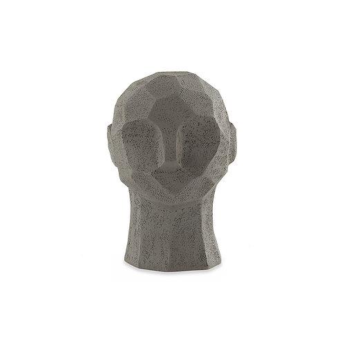 Escultura Cabeça em Poliresina Homem Cinza P