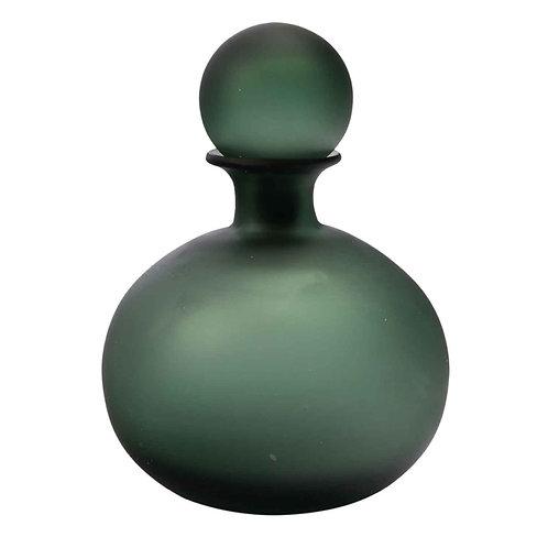 Peça Decorativa de Vidro Verde em Formato de Garrafa