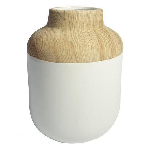 Vaso De Resina Branco E Madeira