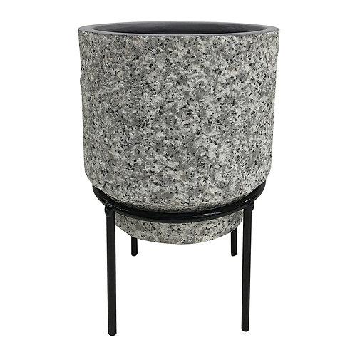 Cachepot De Ceramica Com Suporte De Metal P