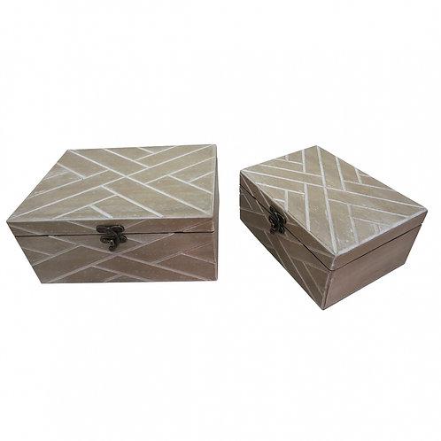 Conjunto de Caixas de Madeira e Tecido Cinza