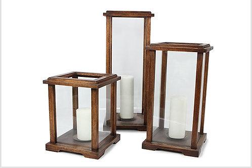 Castiçal Moldura De Madeira E Vidro Com Vela P