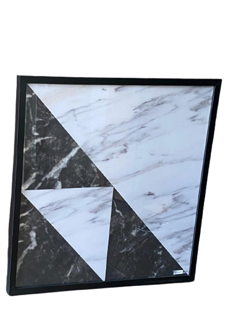 Quadro 60x60 Geométrico Moldura Madeira e Vidro B