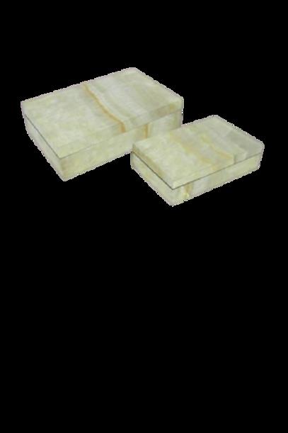 Caixa Marmorizada de Madeira Ônix Branco P