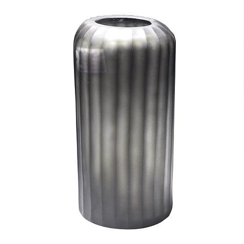 Vaso De Vidro Com Textura Cinza M