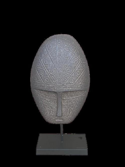Escultura Mascara Etnica no Pedestal
