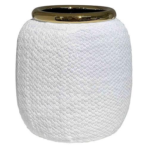 Cachepot De Ceramica Branco E Dourado G alto