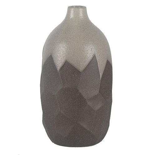Vaso De Ceramica Cinza E Prata G