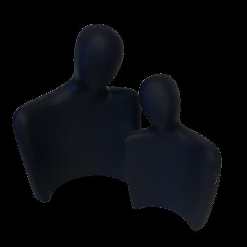 Escultura Pessoas Em Cimento Preto - 2 Peças