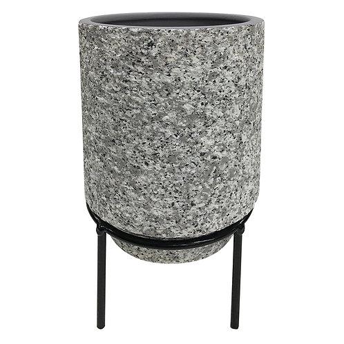 Cachepot De Cerâmica Com Suporte De Metal M