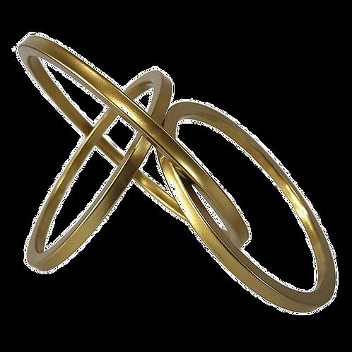 Peça Decorativa De Metal Dourado Argolas