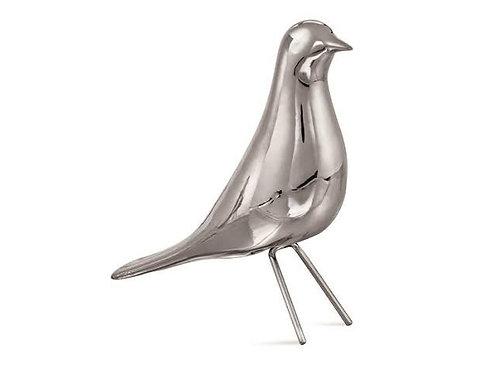 Pássaro Prata Em Cerâmica G