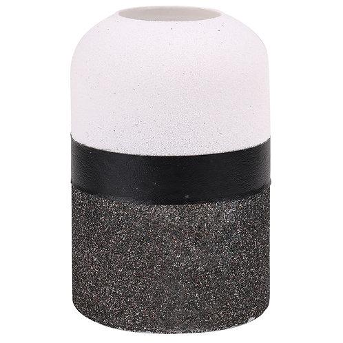 Vaso de Vidro Cinza, Preto e Branco