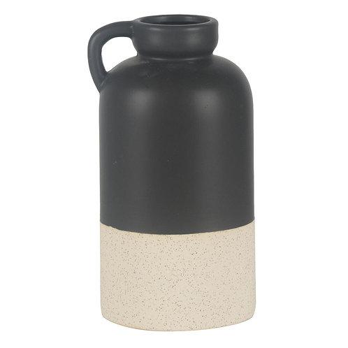 Vaso Estilo Jarra De Ceramica Preto E Branco P
