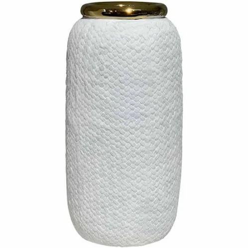 Vaso de Cerâmica Branco e Dourado M