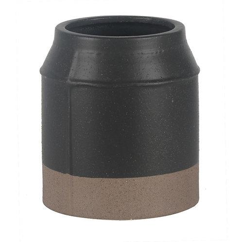 Vaso De Ceramica Preto E Marrom P