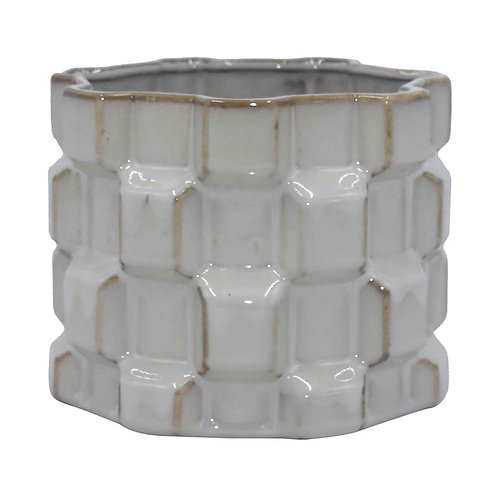 Vaso de Cerâmica Com Textura Geométrica Branco G