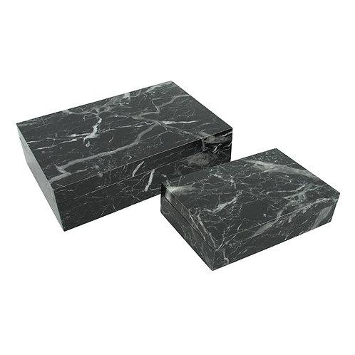 Conjunto de Caixas Marmorizadas de Madeira Nero Marquina