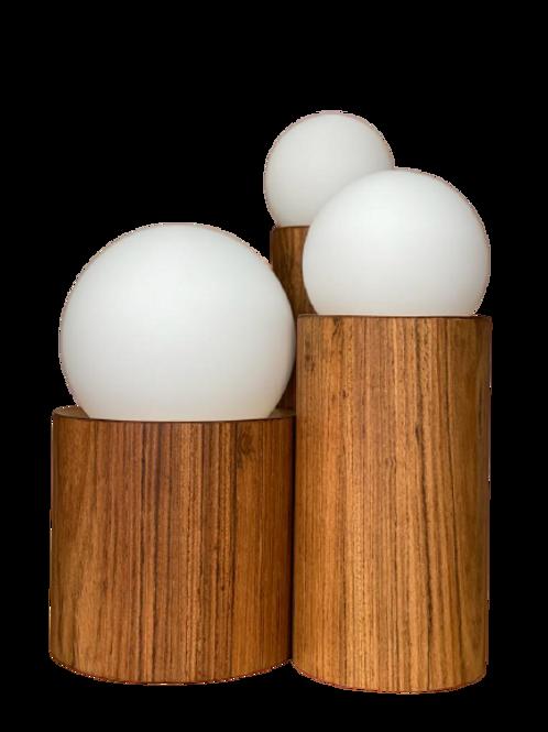 Luminária A219 Ouro/Freijó 3 Lâmpadas