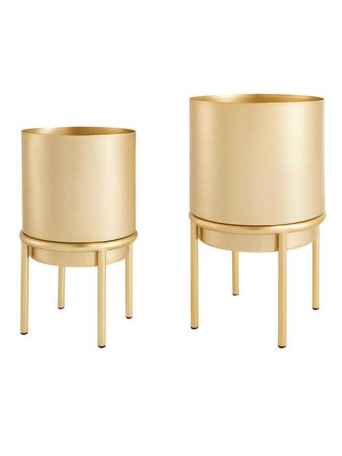 Kit cachepot dourado em metal