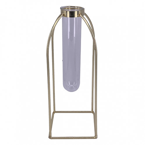 Vaso tubo de vidro e metal dourado