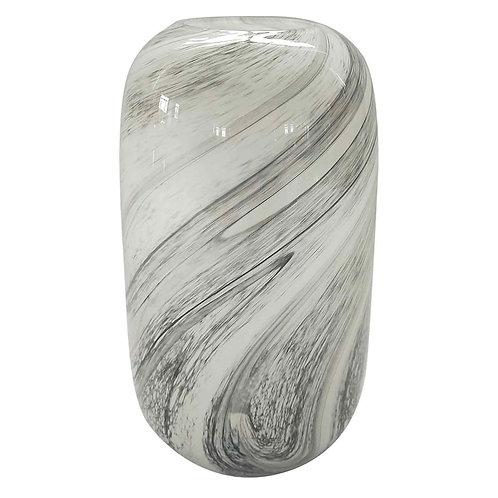 Vaso de vidro marmorizado transparente