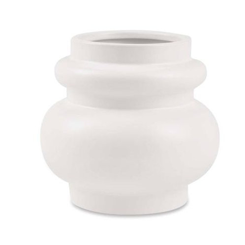 Vaso em Cerâmica Branco M Baixo