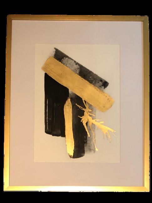 Pinceladas Aquarela Com Aplicação Em Folha De Ouro A