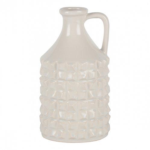 Vaso De Cerâmica Branco Estilo Jarra M