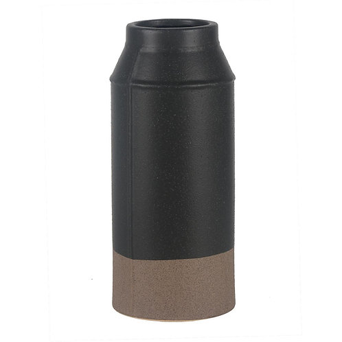 Vaso De Ceramica Preto E Marrom M