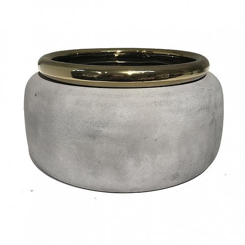 Cachepot De Ceramica Cinza E Dourado