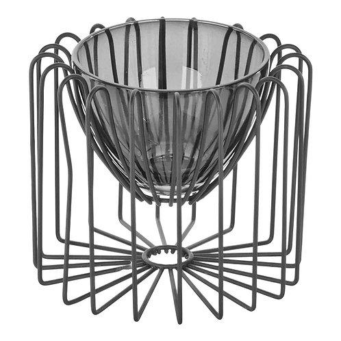 Castiçal de metal e vidro cinza