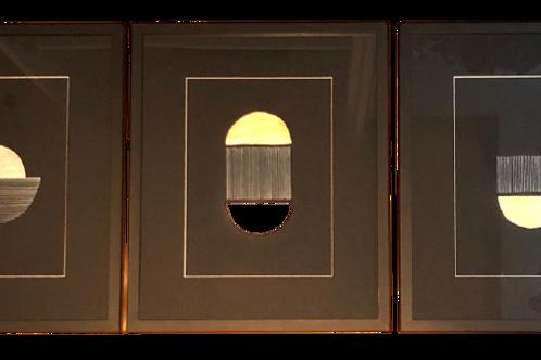 Trio Moon Nanquin E Aplicações Em Folha De Ouro E Prata