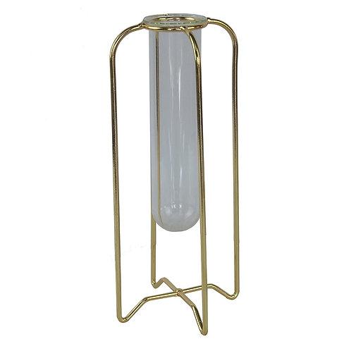 Vaso em metal e vidro dourado e transparente