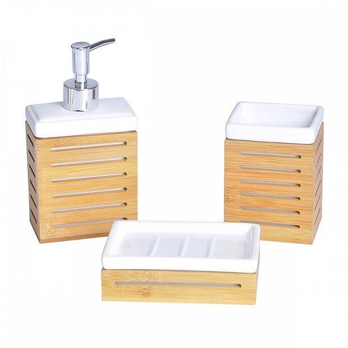 Kit Banheiro De Cerâmica E Bambu.