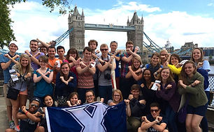 Xavier London Study Abroad students in front of Tower Bridge in East End