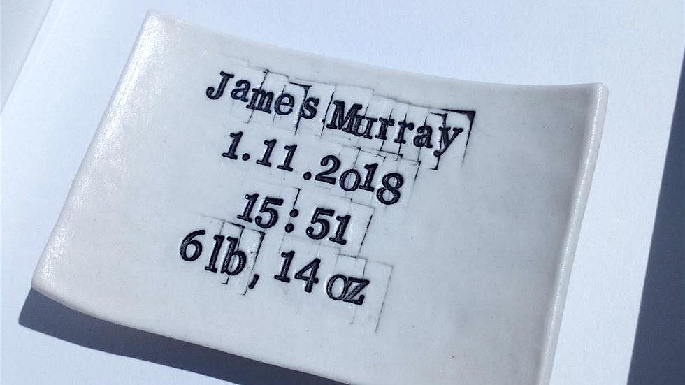 Bespoke 'Baby Birth Details' Words in Porcelain