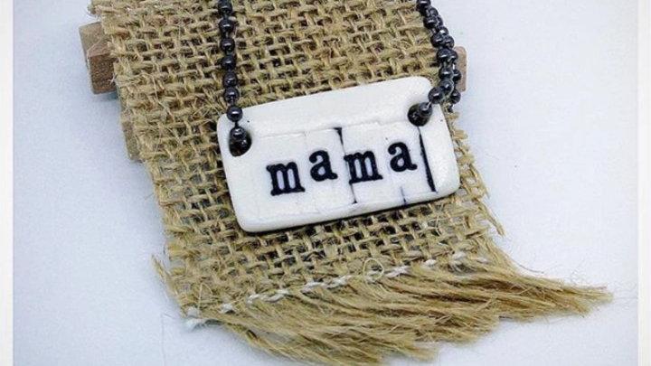 'mama' Porcelain Pendant