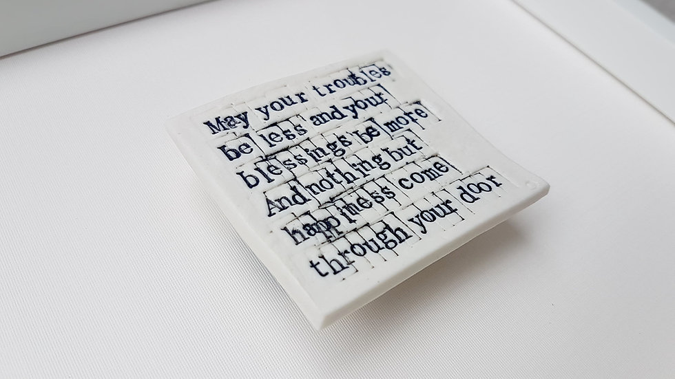 Irish Blessing for Wedding or New Home - Handmade Porcelain Art Tile 'May you al