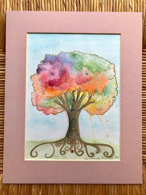 "Chakra Tree (Rose) - 5""x7"""