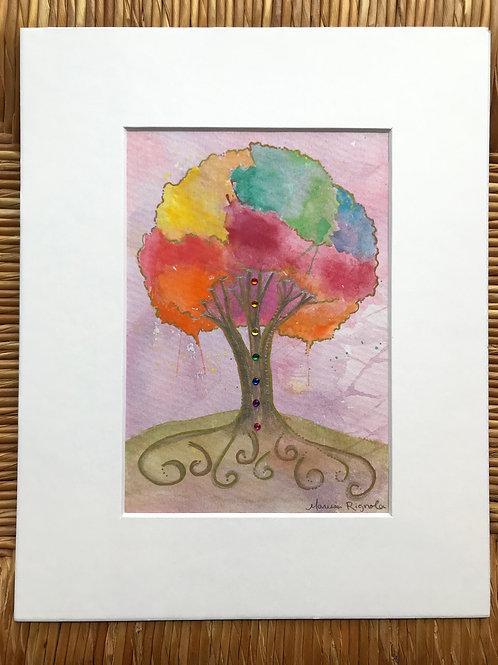 """Chakra Tree (Purple) - 5""""x7"""""""