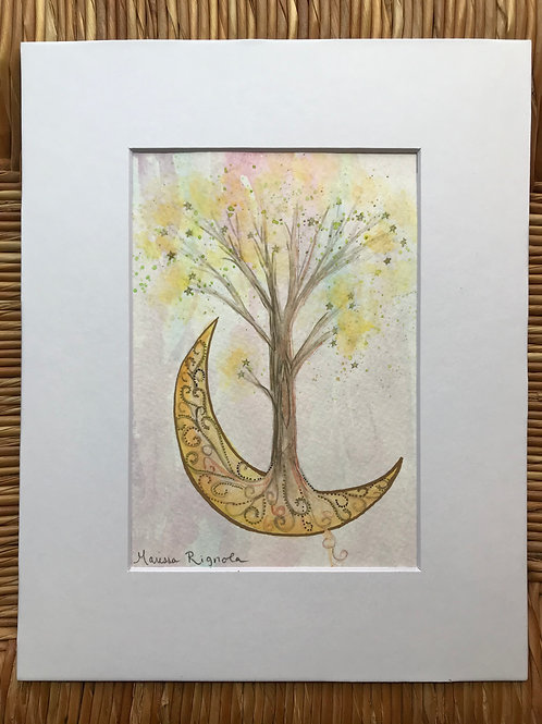 "Moonlit Tree - 5""x7"""