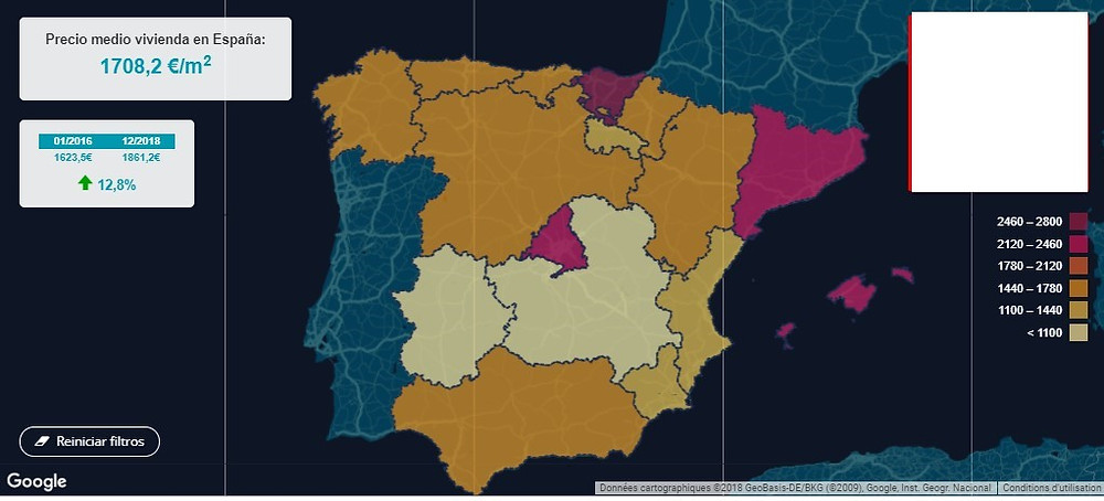 ממוצע עליית מחירי הדיור בספרד 2016 עד 2018