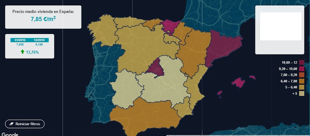 מדד השכירות בספרד לשנים 2016 עד 2018