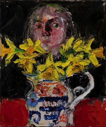 Head_behind_Daffodils_2021_30.5x25.5_oil