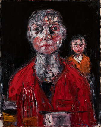 Two_Heads_2020_75x60_oil_on_ gesso_panel