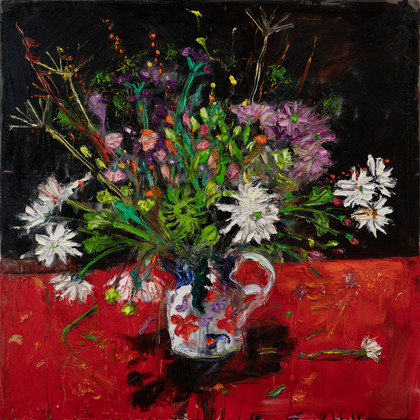Flowers_in_a_Gaudy_Jug_2021_90x90_oil_on