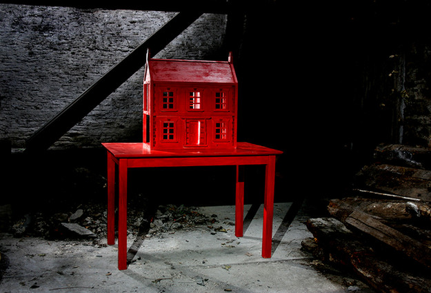 Red Dolls House wood paint electronics 2006