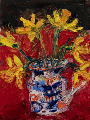 Daffodils_2021_20.5x15_ oil_on_ gesso_pa