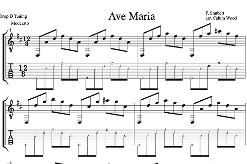 Ave Maria Guitar Score -Notes & TAB